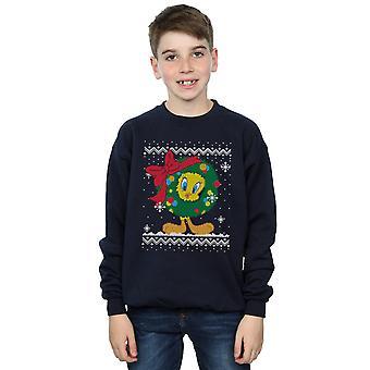 Looney Tunes Boys Tweety Pie Christmas Fair Isle Sweatshirt
