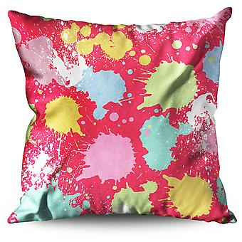 Paint Drops Linen Cushion 30cm x 30cm | Wellcoda