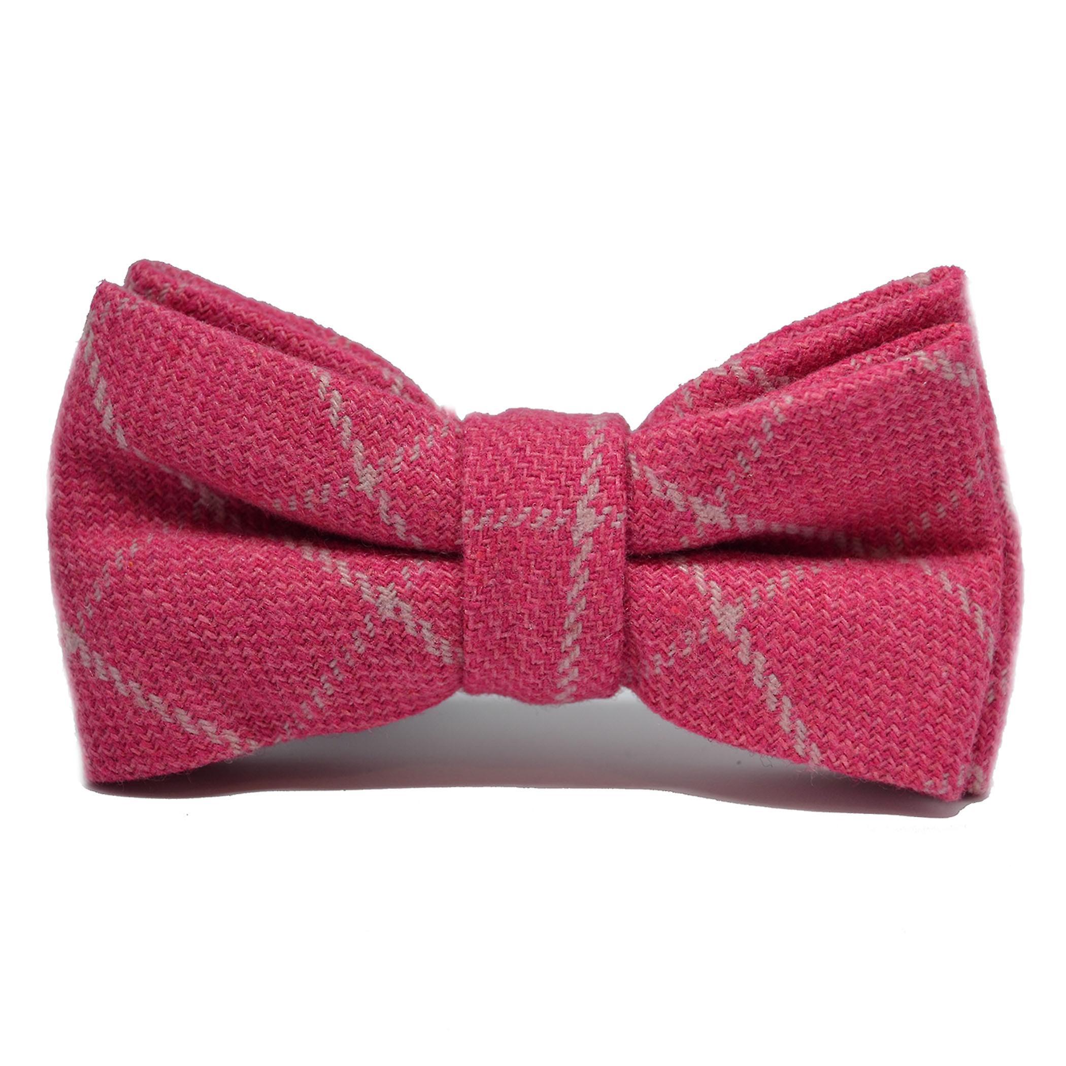 Fuschia Pink Birdseye Check Bow Tie & Pocket Square Set