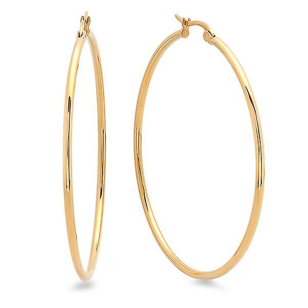 Ladies 18K Gold Plated 50mm Hoop Earrings
