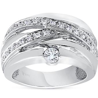 3/4 ct Diamond Womens Wide Solitaire rechterhand Ring 14k witgoud Multirow