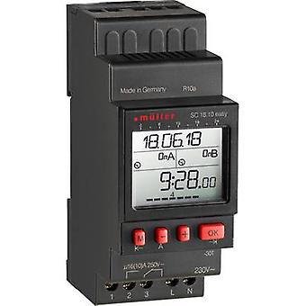Müller SC 18.10 kolay NFC DIN raylı montaj zamanlayıcısı 230 V 16 A/250 V