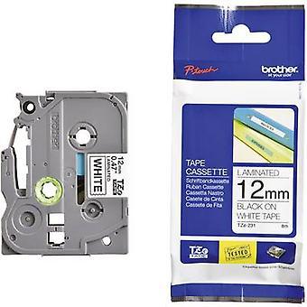Etikettering tape broer TZe, TZ TZe-231 Tape kleur: wit lettertype kleur: zwart 12 mm 8 m