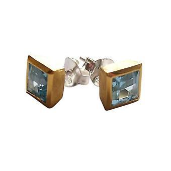 Øreringe sterlingsølv Blå Topaz CRISTA blå Topas øreringe sølv & guld-beklæde