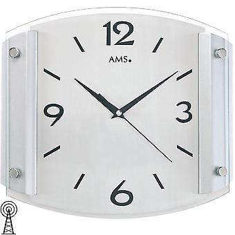 Radio controlled wall clock wall clock in mineral glass silver painted wooden cabinet