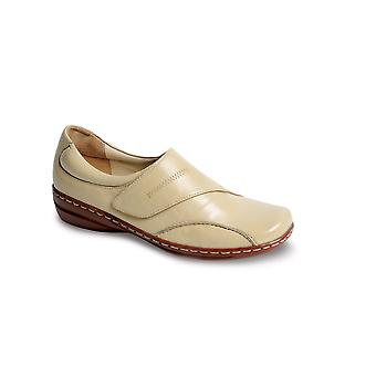 Ladies Velcro Fastening Leather Cushioned Back Casual Comfort Women's Shoe