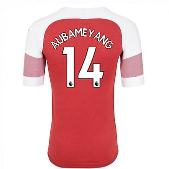2018-2019 Arsenal Puma Home Football Shirt (Aubameyang 14) - Kids