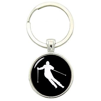 Bassin and Brown Skier Keyring - Black/White