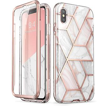 iPhone Xs Max Case, [Built-in Screen Protector] [Cosmo] Full-Body Glitter Bumper Case 2018 Release (Marble)