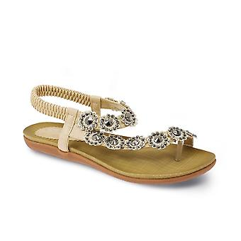 Ladies Diamante Flower Sandals Women's Comfy Casual Summer Strapped Shoes