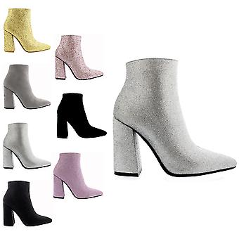 Womens Block Heel Chelsea Biker Pointed Toe Fashion Autumn Ankle Boots UK 3-10