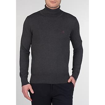 Merc WAPPING, men's cotton roll neck jumper with long sleeves and ribbed hems