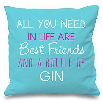 Aqua Cushion Cover All You Need In Life Are Best Friends And A Bottle Of Gin 16