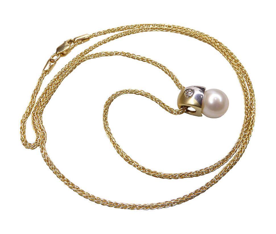 Gouden ketting met parel en diamant hanger