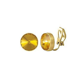 Eternal Collection Treasure Topaz Crystal Gold Tone Stud Clip On Earrings