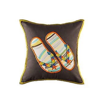 Summer Handpainted Flip Flop Throw Pillow Cover