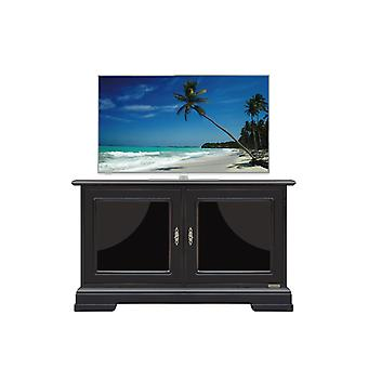 Low black TV door with lacquered glass
