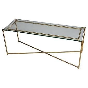 Gillmore Clear Glass Low Console Media Table With Brass Cross Base