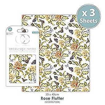 Craft Consortium Rose Flutter Decoupage Papers (CCDECP324)