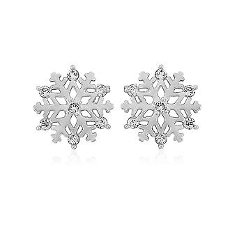 Jewelco London 9ct White Gold Cubic Zirconia Sparkling Snowflake Stud Earrings 5mm