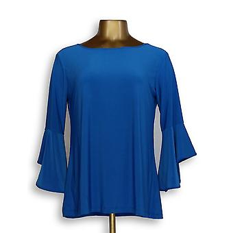 Frauen mit Control Stretch Stricken Flounce Sleeve Top Blau A301384