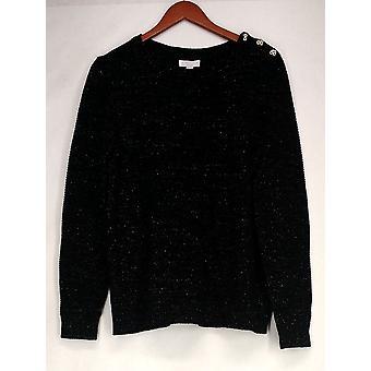 Charter Club Plus Sweater Metallic Pullover Deep Black Womens PTC