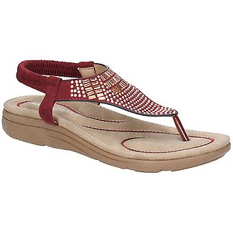 Fleet & Foster Womens Mulberry Elastic Toe Post Sandal Bordo