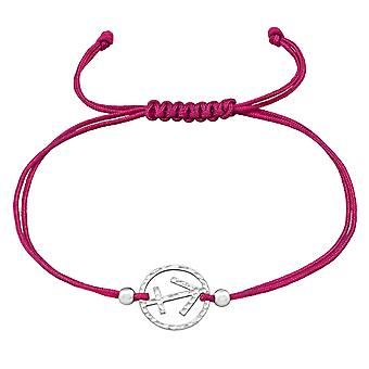 Sagittarius Zodiac Sign - 925 Sterling Silver + Nylon Cord Corded Bracelets - W39010x