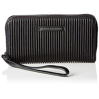 ARMANI EXCHANGE Fabric Round Zip - Black Women's wristbags (Black) 10.1x2.5x19 cm (B x H T)