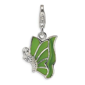 925 Sterling Silver Rhodium plated Fancy Lobster Closure Green Enameled and CZ Butterfly Angel Wings With Lobster Clasp