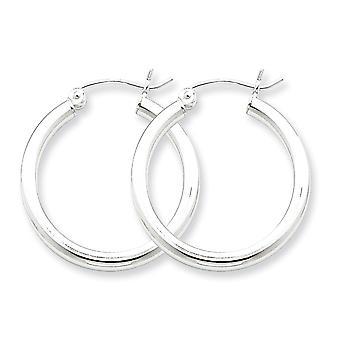 925 Sterling Silber poliert Hohlrohr Aufklappe Pfosten 2,5 mm Runde Creolen Schmuck Geschenke für Frauen