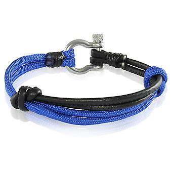 Skipper bracelet surfer band node maritimes bracelet nylon/leather blue/black 7232