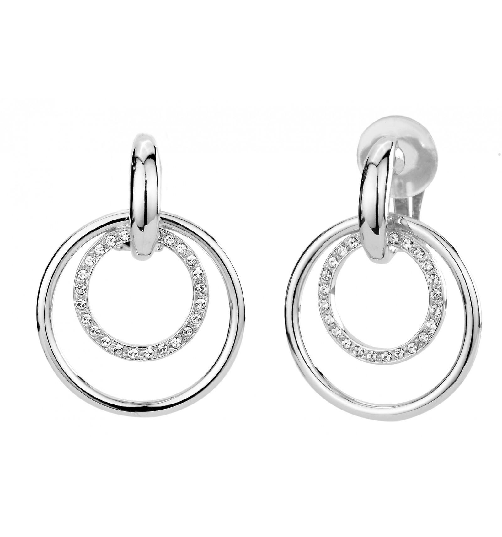 Traveller clip earring - Hanging - rhodium plated - Swarovski Crystals - 157106