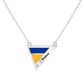 University Of Pittsburgh Engraved Sterling Silver Diamond Geometric Necklace In Blue & Orange