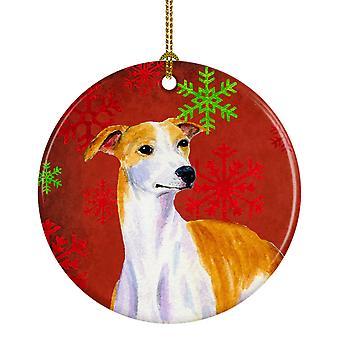 Whippet الأحمر والأخضر الثلج عطلة عيد الميلاد زخرفة السيراميك