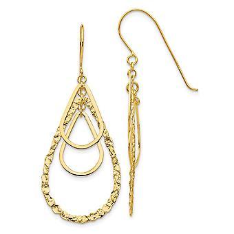 14k Yellow Gold Textured Polished Shepherd hook Tear Drop Earrings Jewelry Gifts for Women