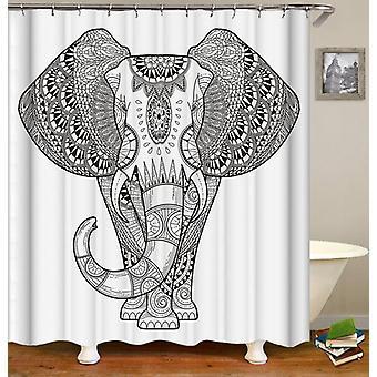 Rideau noir et blanc de douche de dessin d'éléphant