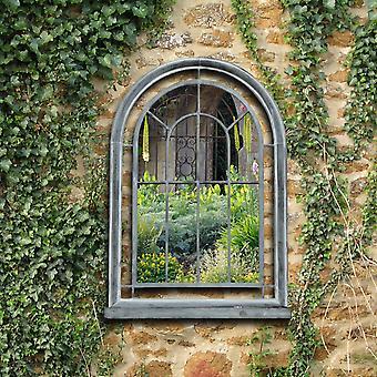 Charles Bentley Garden Premium Grau gewölbt Glasspiegel geeignet für Innen-und Außeneinsatz