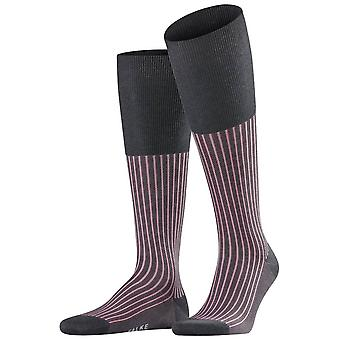 Falke Oxford Stripe knæ høje sokker-Anthracite melange grå