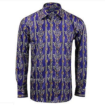 Oscar Banks Satin Navy Paisley Print Mens Shirt