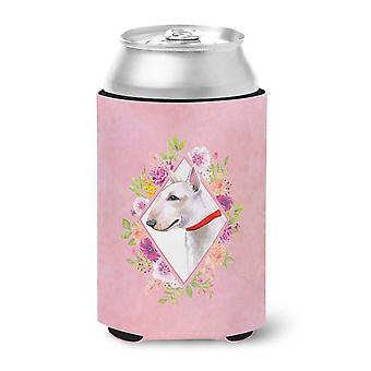 Carolines Treasures  CK4124CC Bull Terrier Pink Flowers Can or Bottle Hugger