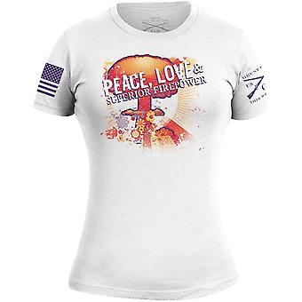 Grunt Style Women's Peace, Love & Superior Firepower T-Shirt - White