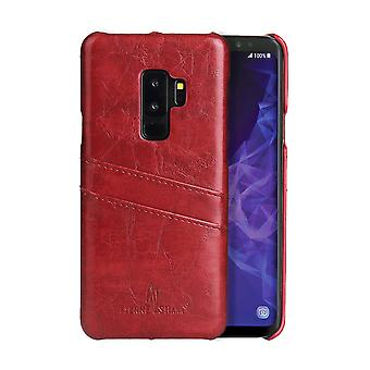 Para Samsung Galaxy S9+ PLUS Red Deluxe Leather Back Wallet Phone Case, slots case