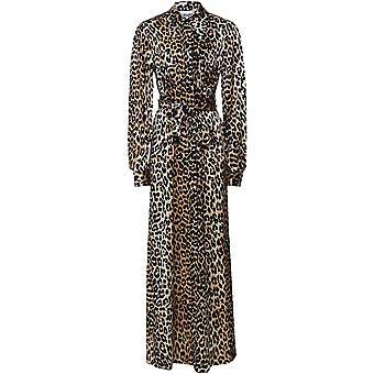 Ganni Silk Leopard Print Stretch Satin Shirt Dress
