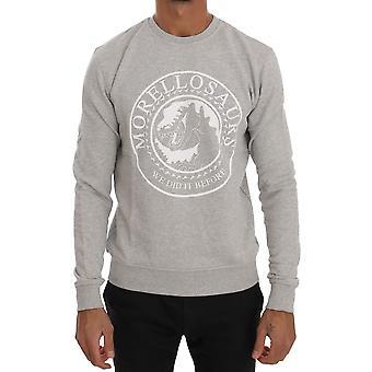 Frankie Morello Gray Cotton Crewneck Pullover Morellosaurs Logo Sweater