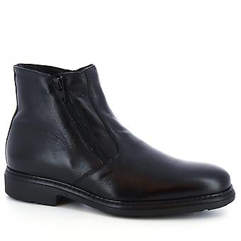 Leonardo Shoes Men's handmade ankle boots in black napa leather with side zip