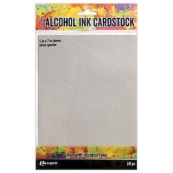 """Tim Holtz Alcohol Ink Cardstock 5""""X7"""" 10/Pkg-Silver Sparkle"""