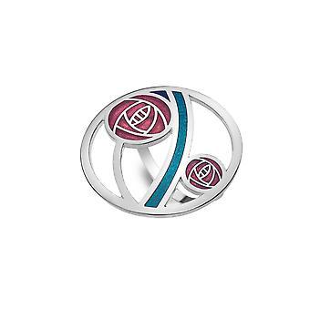 Rennie Mackintosh Glasgow Red Rose Enamel Scarf Ring - Gift Boxed