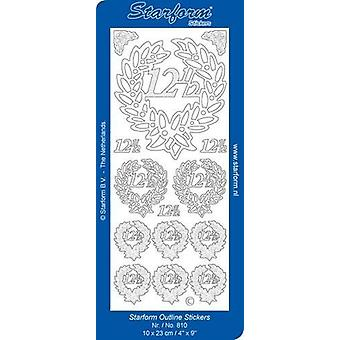 Starform Stickers Jubilee 2: 12,5 (10 Sheets) - Gold - 0810.001 - 10X23CM