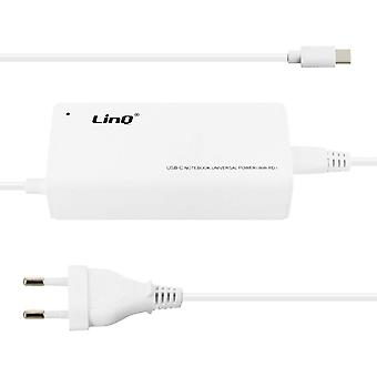 Wall Charger: 1x 65W PD USB Type C and 1x USB Port- TJ-281- LinQ, White